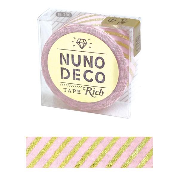 お名前ラベルシール 『NUNO DECO TAPE (ヌノデコテープ) リッチストライプ ピンク 15-290』 KAWAGUCHI カワグチ 河口