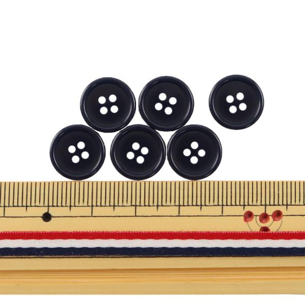 ボタン 『四つ穴ボタン 13mm 6個入り 濃紺 PYTD10-13』