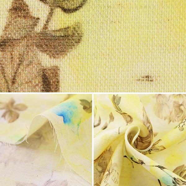 【数量5から】生地 『yui by Ayano ichiyanagi botanical:mellow インクジェット 綿麻コンパス EGXA-6403-1A』 KOKKA コッカ