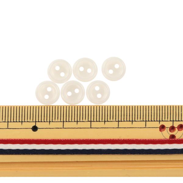 ボタン 『シャツボタン 二つ穴 9mm 6個入り 1番色 PVSO9003-01-9』