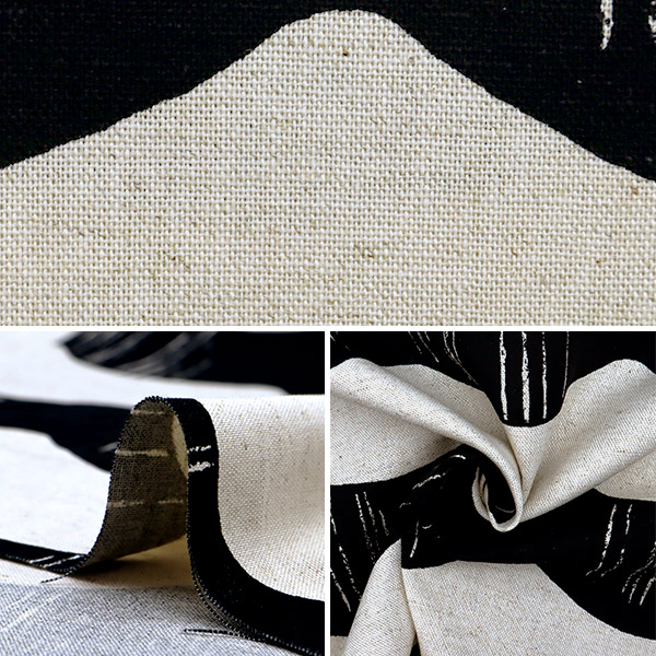 【数量5から】 生地 『う早この布 綿麻キャンバス フリル ブラック×生成 UP5757-B』 COTTON KOBAYASHI コットンこばやし 小林繊維