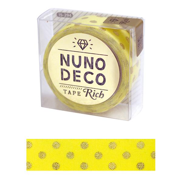 お名前ラベルシール 『NUNO DECO TAPE (ヌノデコテープ) リッチドット イエロー 15-294』 KAWAGUCHI カワグチ 河口