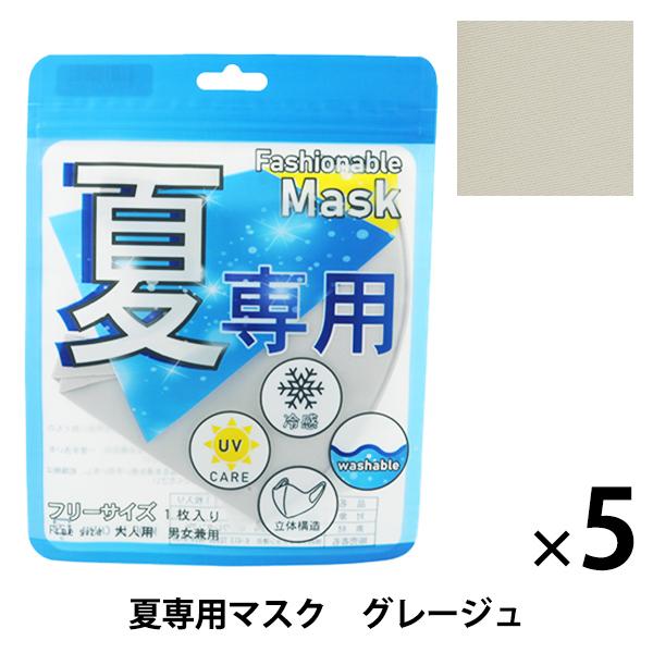 衛生用品 『夏専用クールマスク 5枚セット グレージュ』