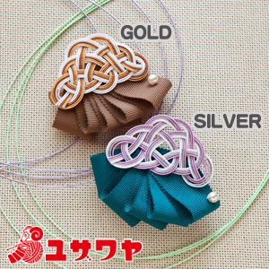 Piece (ピース) 水引キット 『松結びとリボンのバレッタ GOLD (ゴールド) PHC-029-1』