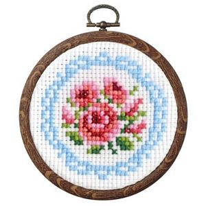 クロスステッチ刺繍キット オリムパス プチフープ フルーツ&フラワー バラとレース/7441 [刺しゅうキット/