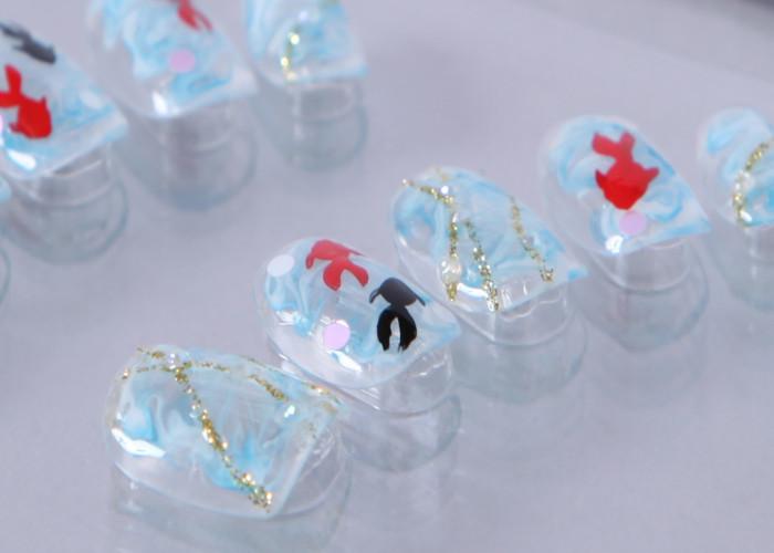 ゆずネイル|ネイルチップ  薄ブルー 濃ブルー マーブル 動物 夏 浴衣(B01009-Q-C)