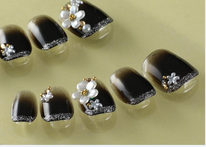 ゆずネイル|ネイルチップ  ブラック系 フレンチ・ブロッキング 花 浴衣 着物 浴衣 卒業式・袴(B09005-1-Q-CBK)