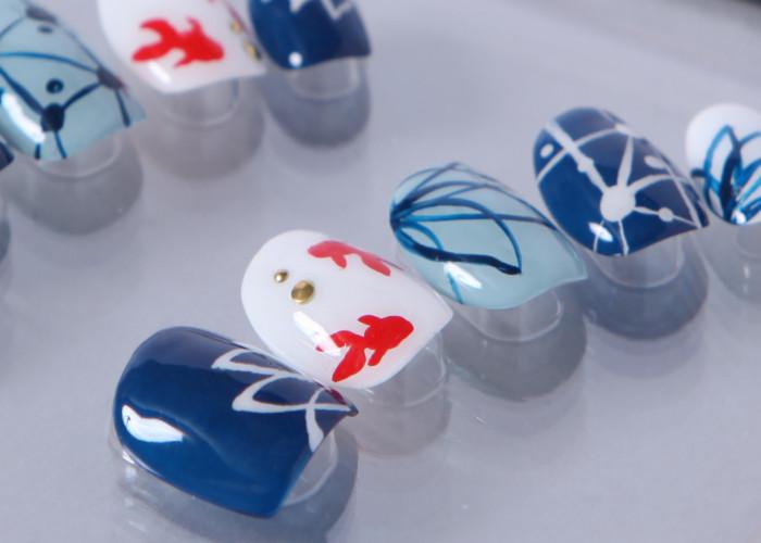 ゆずネイル ネイルチップ  ホワイト 薄ブルー 濃ブルー マルチカラー 動物 花 クール 夏 浴衣(B01013-Q-NB)
