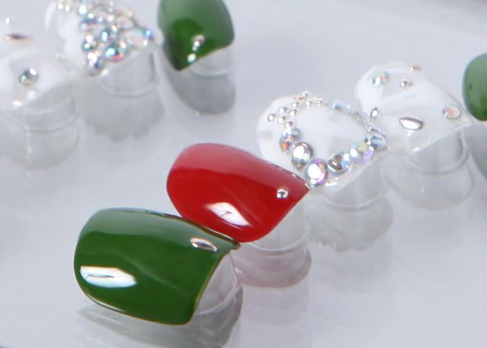 ゆずネイル|ネイルチップ  ホワイト系 レッド系 グリーン系 マルチカラー マーブル リボン クリスマス デート(B06029-Q-C)