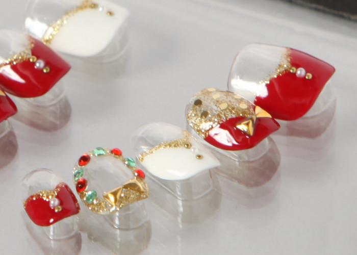 ゆずネイル|ネイルチップ レッド系 ホワイト系 クリア フレンチ リボン クリスマス(B06026-Q-C)