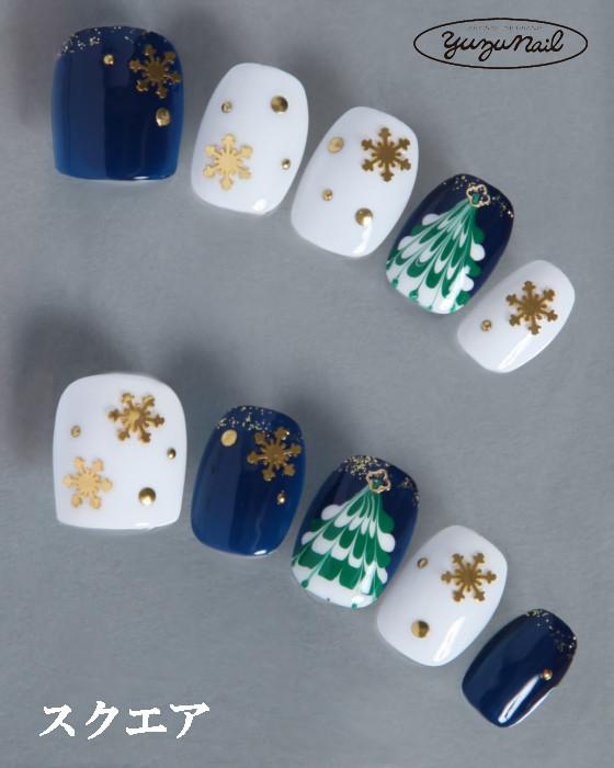 ゆずネイル|ネイルチップ  ホワイト系 ブルー系 マーブル 雪 クリスマス デート(B06030-Q-NB)