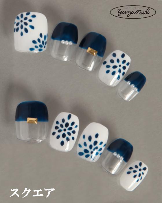 ゆずネイル|ネイルチップ  ホワイト系 ブルー系 クリア系 フレンチ・ブロッキング 春 夏 浴衣 デート 浴衣(B11013-Q-CWH)
