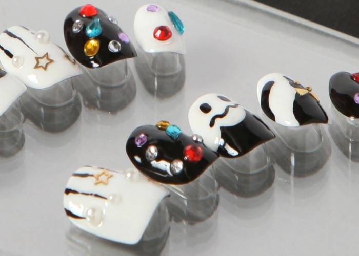 ゆずネイル|ネイルチップ  ホワイト ブラック リボン おばけ キャラクター 動物 秋 ハロウィン(B05012-Q-BK)
