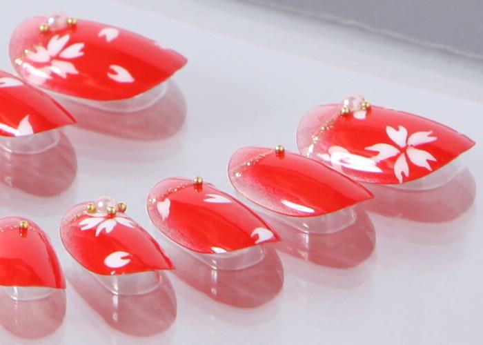 ゆずネイル|ネイルチップ  レッド系 桜・梅 春 シンプル 桜 成人式・振袖 卒業式・袴(B10035-R-CRED)