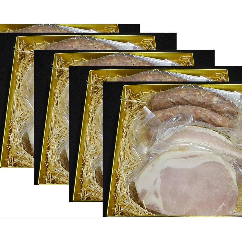 着色料・保存料無添加 プレミアム吉野ハム【F】(ヤマトポークのロースハム、ベーコン、ソーセージ3本入り×1セット)5回配布
