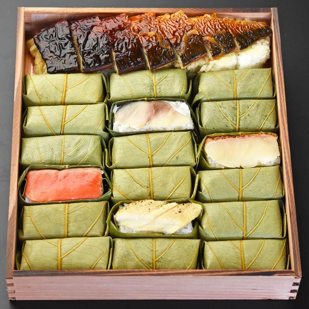 柿の葉ずし 鯖・鮭・金目鯛・炙り穴子 ・柚子庵仕立 焼鯖ずし 詰合せ