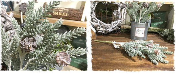 アイスサイプレススプレー(スノー松ぼっくり)【フェイクグリーン アーティフィシャルフラワー 造花】