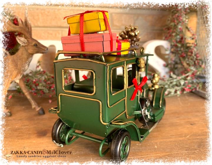 ノスタルジックデコ ティンクリスマスカー レトロカー プレゼント グリーン