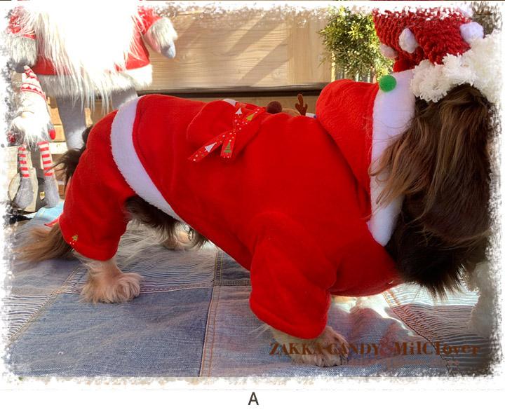 わんこ服 クリスマス サンタさん カバーオール
