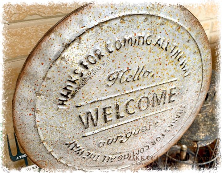 ヴィンテージ風 ウェルカム スタンディングサイン アクイユ WELCOME