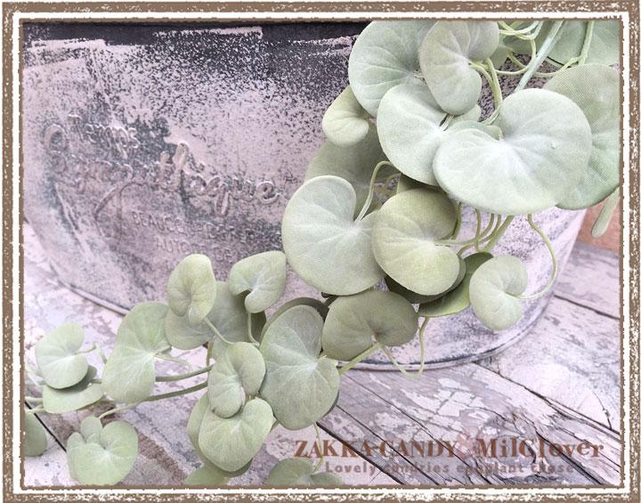ハート型の葉っぱが可愛いシルバーフォールズ【フェイクグリーン壁掛けタイプ 造花 アーティフィシャル】【メール便OK】