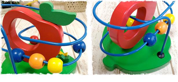 ウッデントイ ビーズコースター りんご【木のおもちゃ 知育玩具】