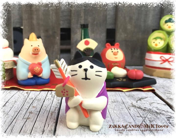 お正月  DECOLE(デコレ)初詣猫【ミニチュアマスコット お正月飾り ディスプレイ】