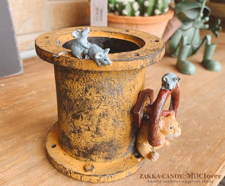 アンティーク レトロ 土管 ねことネズミのフラワーポット