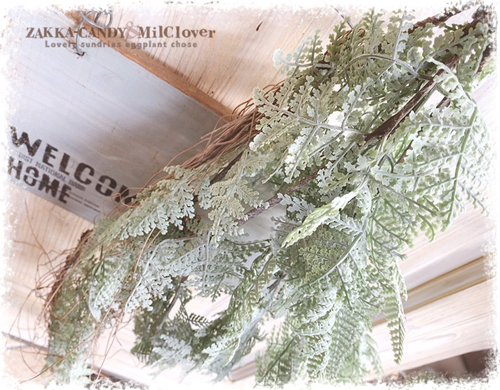壁掛け フェイク インテリアグリーン ファーン ハンギングブッシュ セージグリーン