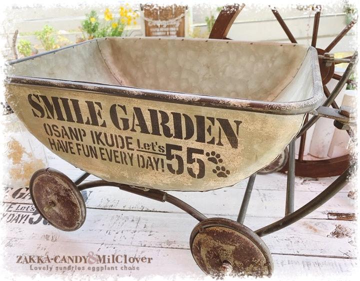 送料無料 ジャンクガーデン フラワーワゴン カート SMILE GARDEN55