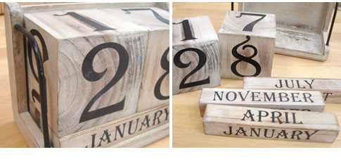 アンティーク キューブカレンダー【アンティーク調 ナチュラル シャビー おしゃれ 万年カレンダー】