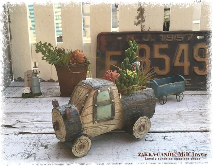 木製風 フラワーポット トラック【ガーデニング 寄植えに かわいいプランター】