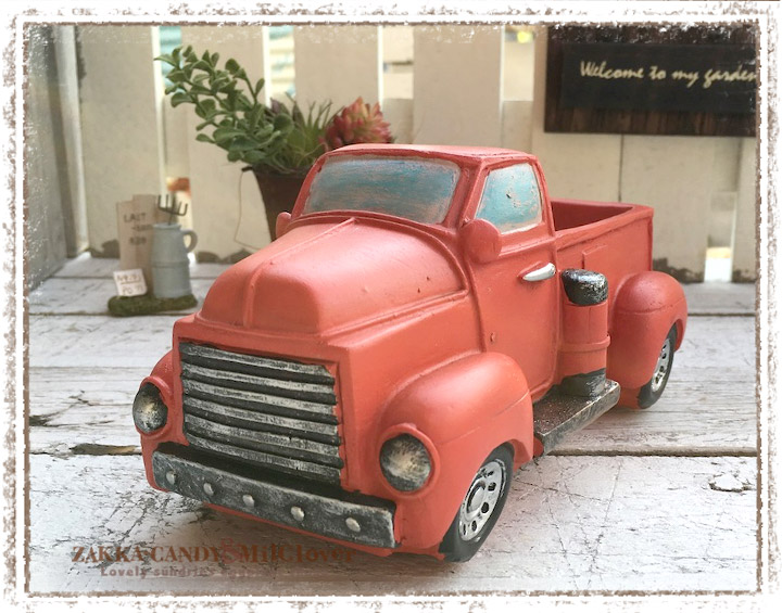 フラワーポットレトロなトラック 赤【ガーデニング 寄植えに かわいいプランター】