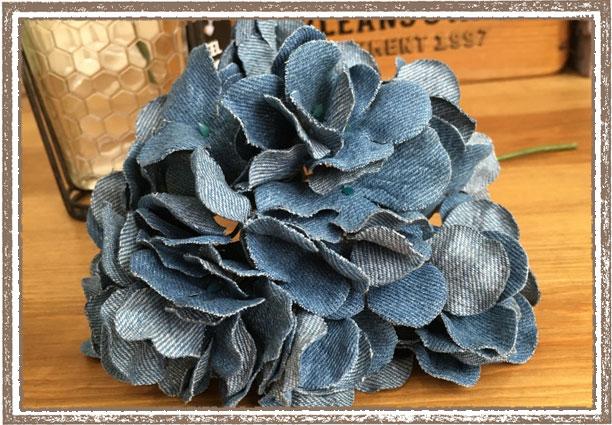 デニム紫陽花 あじさい アジサイ ハイドランジアピック ブルー【フェイクグリーン アーティフィシャルフラワー 造花】