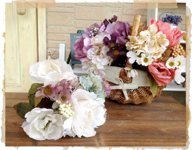 ピオニーミックスブッシュ【ブーケ】【フェイクグリーン アーティフィシャルフラワー 造花】