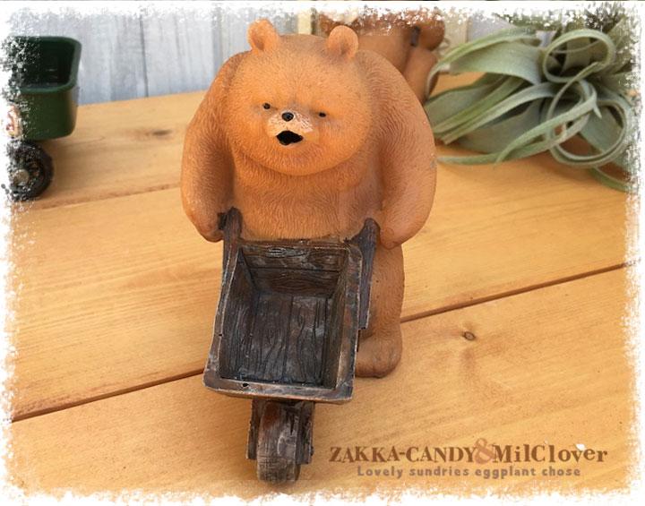 レジンダッドベアー カート【くまの置物 ガーデン クマ】