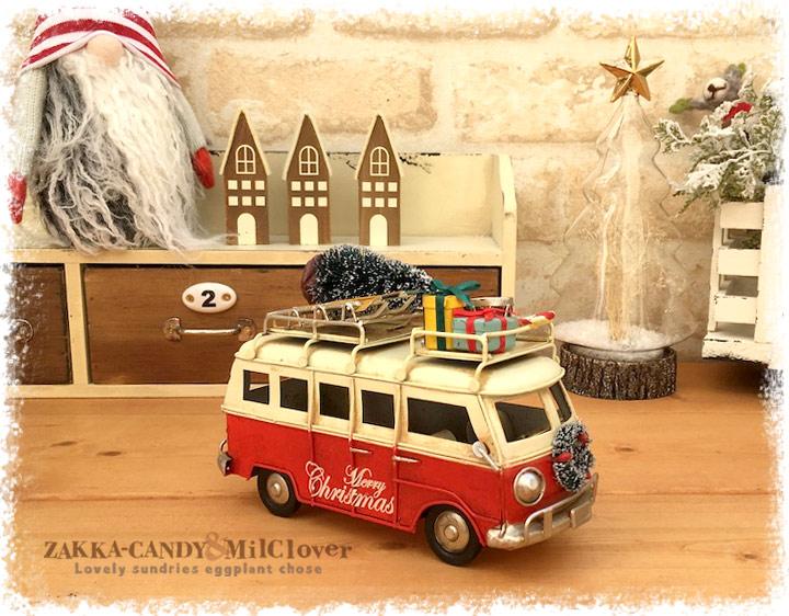 ノスタルジックデコ クリスマスカー バス レッド【クリスマス雑貨 オーナメント】
