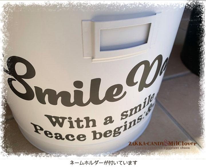 Smile ロゴ入り ウッドハンドル 蓋付き  スチール ストッカー 収納缶