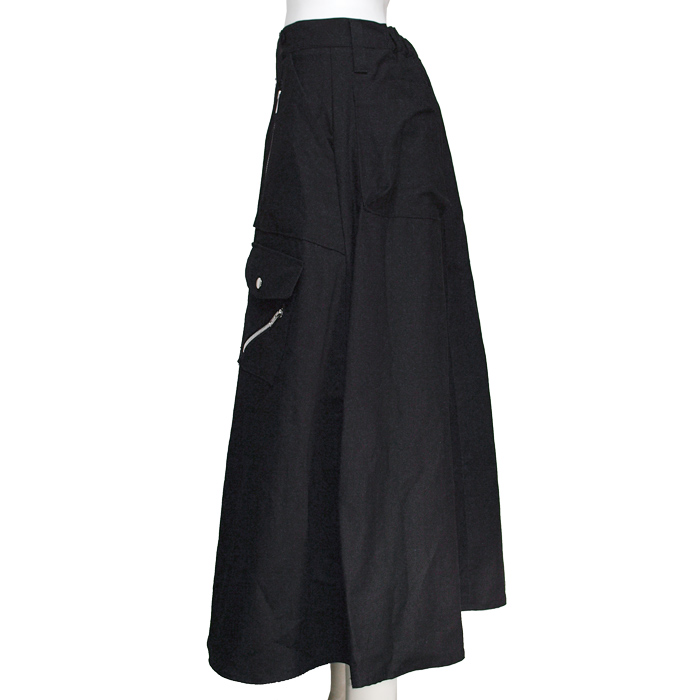 CLASH ZIP ロングスカート黒ツイル