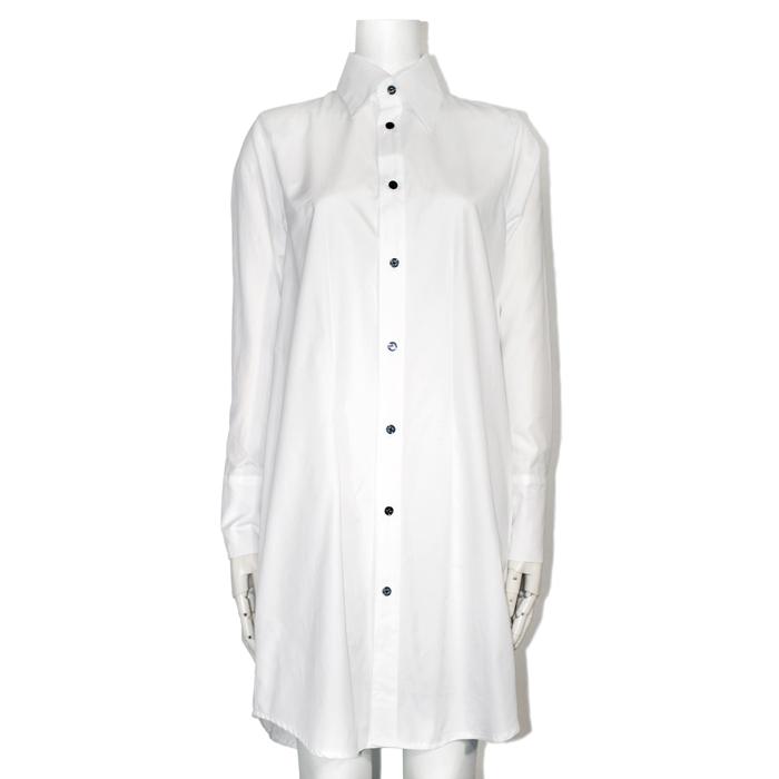100双ブロードAラインロングシャツ