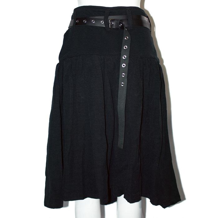 2連ベルト付き麻ギャザースカート