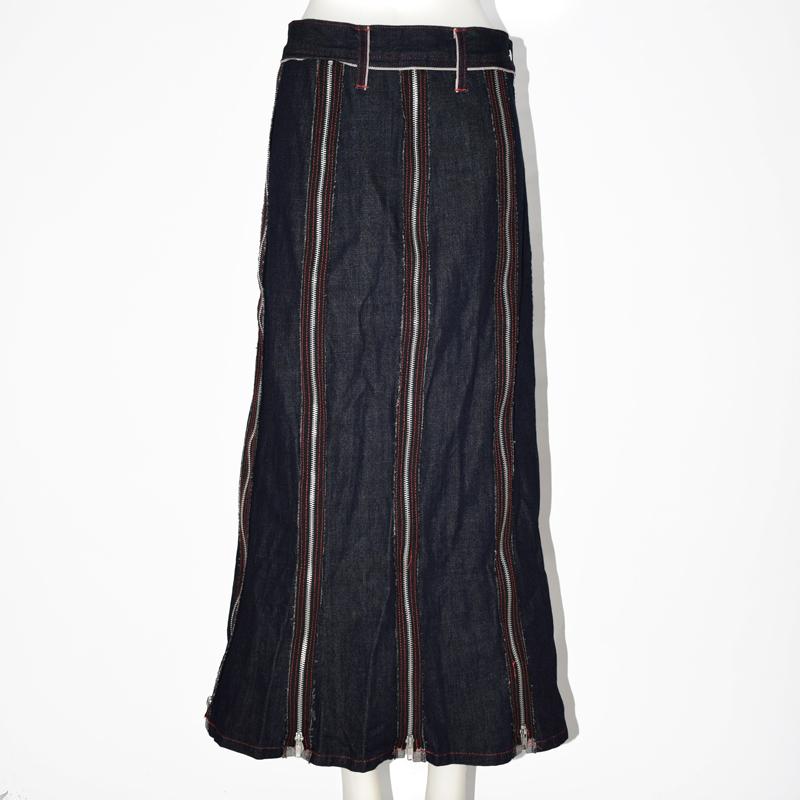ビンテージデニム8枚はぎZIPロングスカート