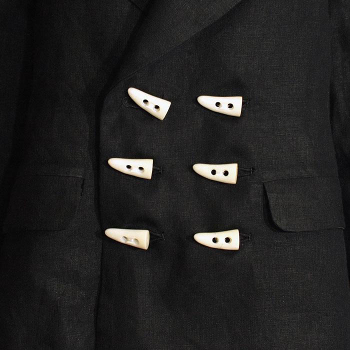 麻ショートWジャケット(角ボタン)
