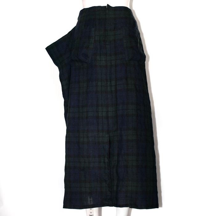 麻タータンタックドロングスカート