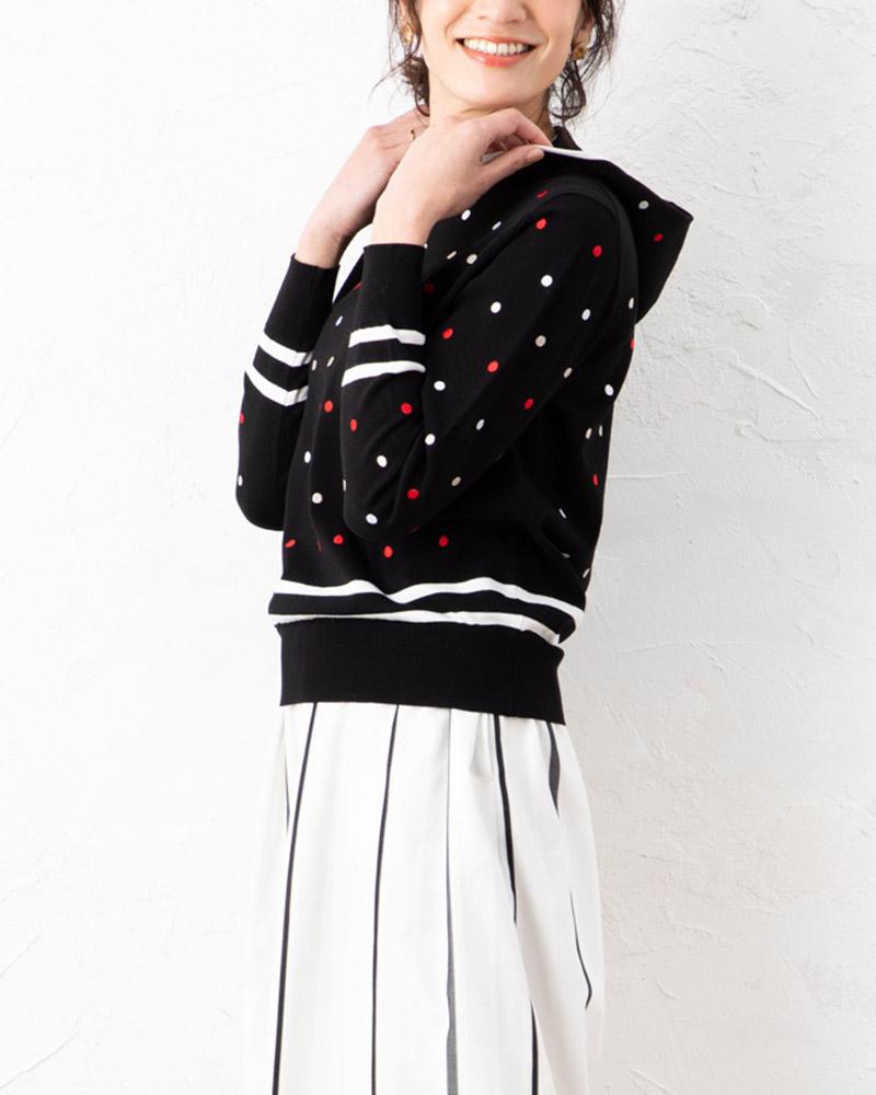 【NEW】マルチドット刺繍フーディープルオーバー