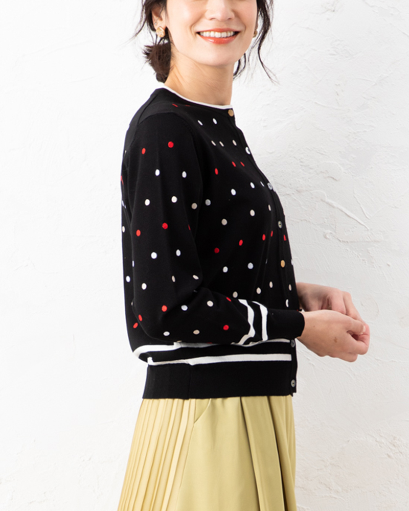 【NEW】マルチドット刺繍ラウンドカーデ
