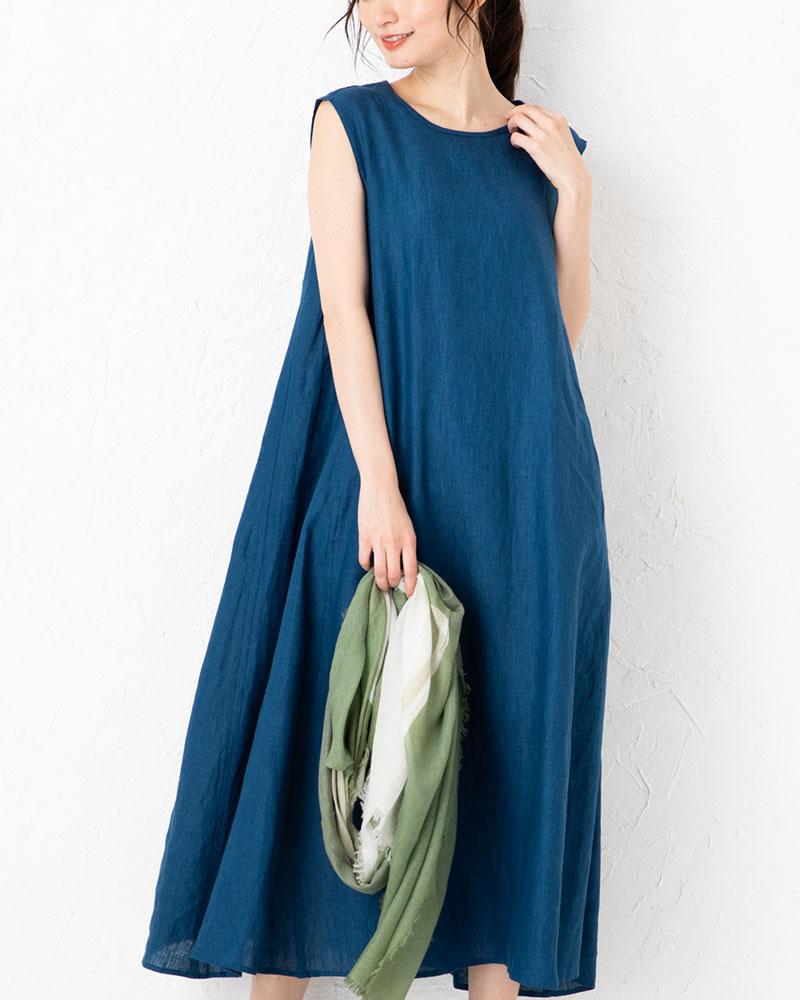 【NEW】フレンチリネンパネル切り替えロングドレス