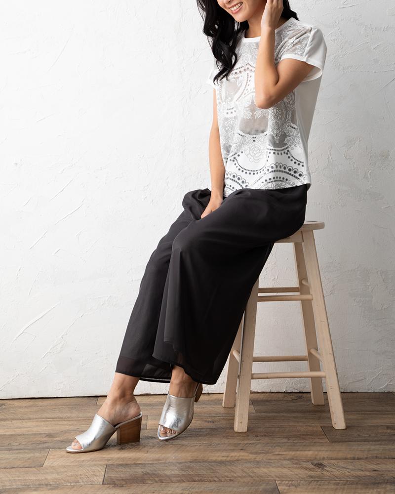 カットワークプリント半袖Tシャツ