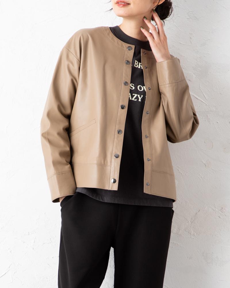【NEW】ラムレザーラウンドネックジャケット