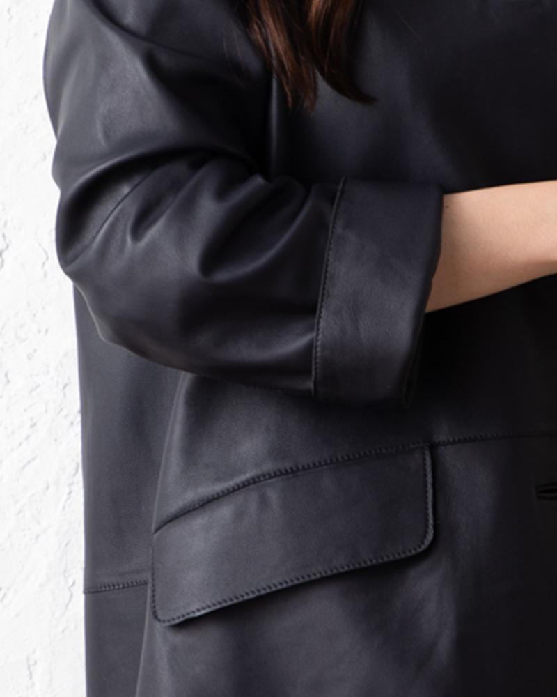 【再入荷(7号のみ)】ラムレザーステンカラーコート